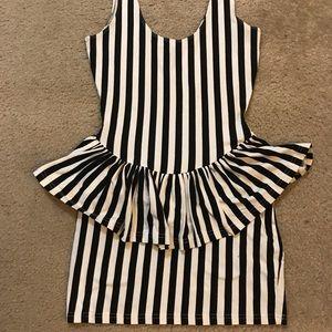 Pinstripe Fitted Peplum Dress